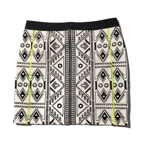 Zara Mini Skirt Tribal Print Neon Piping Trim Med